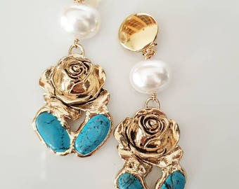 Gold plated tuquoise earrings with perals