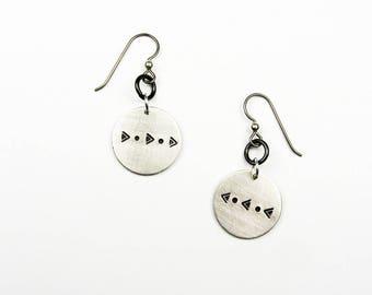 Geometric Earrings - Triangle, Circle, Dot Shape - Southwest Style Pattern Jewelry - Hypoallergenic Disc Earrings