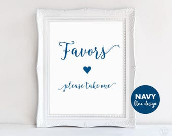 Navy Blue Wedding Favors Sign, Printable Wedding Favors Sign, Modern Calligraphy, VW11
