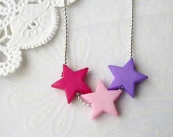 Pastel Pink & Purple Star Necklace