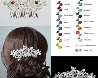Choose Your Accent Colour -- Beautiful Vintage Inspired Crystal Rhinestone Rose Hair Comb, Bridal, Wedding (Sparkle-2746)