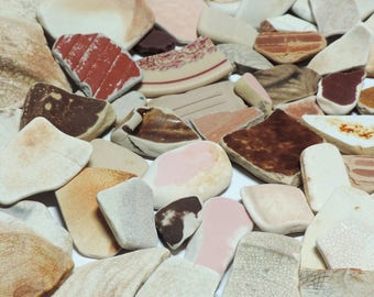 Pink, yellow, and beige POTTERY CERAMICS SHARDS Genuine beach found surf tumbled / Lot of  60+ pieces / R65