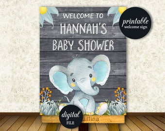 Welcome sign Baby Shower, Elephant Welcome sign PRINTABLE, Boy Elephant baby shower decoration Elephant Baby shower decor Digital file