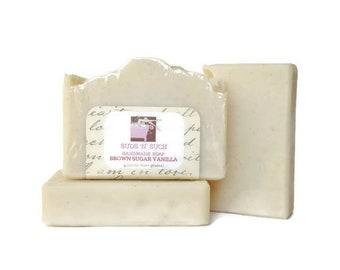 Brown Sugar Vanilla Handmade Olive Oil Artisan Soap - Phthalate Free - Warm Vanilla Sugar Dupe - Vegan - Cold Process - Dye Free