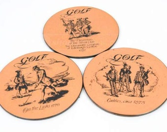 Vintage Pentland Copper Craft Scotland Golf Coasters