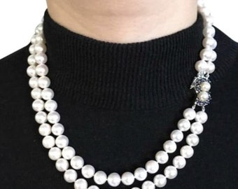 Certified Estate 6,500 Akoya Pearl 8.4 mm Double Strand Sapphire 14Kt Necklace