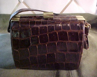 1940s Brown Alligator Boxy Handbag, Label Shaws, Genuine Alligator