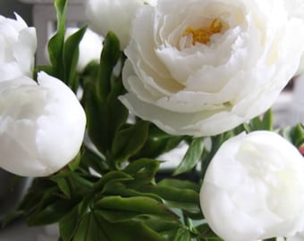 Peony polymer clay Artificial flowers Wedding Bouquet Home Flowers white Floral arrangements home decorations