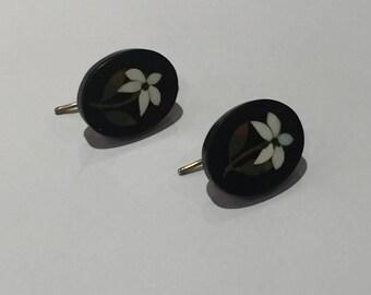 A Pair of Pietra Dura Flower Earrings