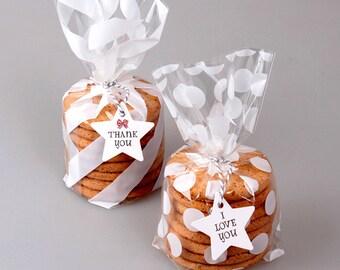 40 White stripes/polka dot plastic bags, cookie bag, wedding favor, bridal shower favor, baby shower favor, party favor, cookie wrapper