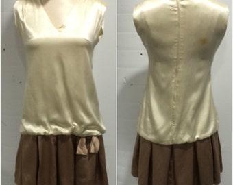 1960s Two Tone Drop Waist Party Dress