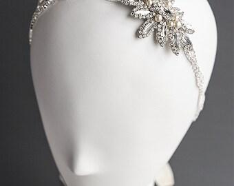 Crystal Bridal Hair Accessories, Swarovski Pearl Wedding Headband, Art Deco Flower Leaf Rhinestine Bridal Headband, Wedding Hairband, JOSLYN