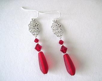 long  red and silver  earrings   Red  earrings