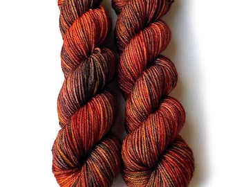Hand Dyed Yarn Ultrafine 17 Micron Merino Worsted Yarn, Red Maple 210 yards