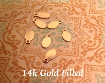 20 Ea.  Gold Fiilled Blank 4.5 x 8.5 mm Small Oval Charm with .9 mm Hole, Stamping, WHOLESAL