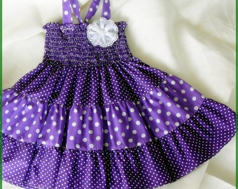 Girls Purple dress, Purple and white polka-dot dress for girls, Purple tiered dress, Purple dress, Purple Birthday party dress,