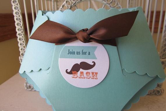 Mustache Theme Baby Shower Custom Die Cut Diaper Other