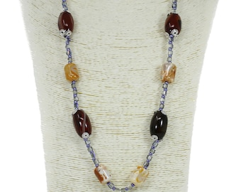 MarcyTreasure Handmade Wrapped Wire Stone Necklace with a Pewter Stone Pendant