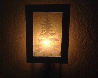 Woodland Christmas Tree in Frame Night Light (READY TO SHIP)
