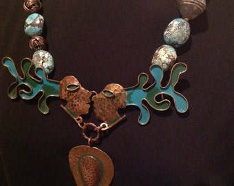 "Vintage Casa Maya Aztec ""The Kiss"" handmade redesigned buckle necklace by Retrotherapy designs."