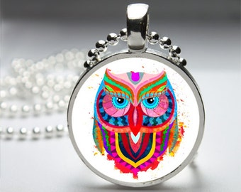 Abstract Colourful Owl Round Pendant Necklace with Silver Ball or Snake Chain Necklace or Key Ring