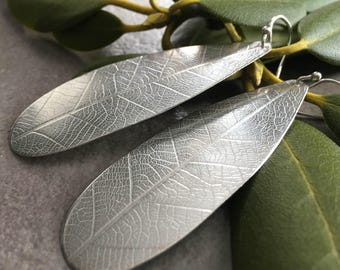 Big Silver Teardrop Earrings with Leaf Texture - Long Silver Leaf Earrings - Sterling Silver Teardrop Dangle Earrings - Statement Earrings