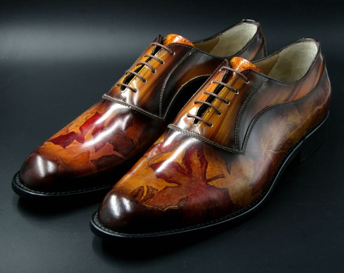Featured listing image: Leather man patina shoes, caramel brown with painted leaves, hand-painted, Made in Italy