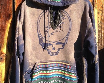 Made to Order Lace Up Grateful Dead Hooping Bear Tribal Fabric Hoodie