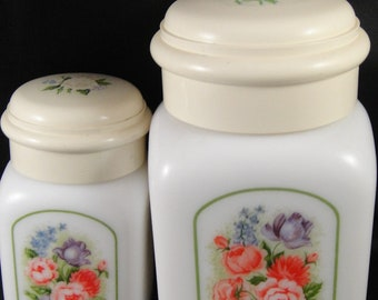 Avon Milk Glass Jars Country Garden Country Powder Sachet and Beauty Dust
