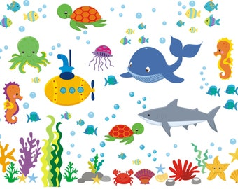 """Sea Ocean Wall Decals - Nursery Marine Wall Decals - Whale Shark Wall Decals - Baby Wall Decals Ocean Theme - Removable Decals - 50"""" x 65"""""""