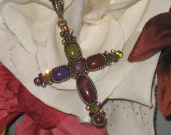 Cross Pendant Necklace, Simulated Stone Cross, Purple, Green, On Antique Gold Chain, Adorned