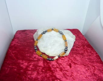 Genuine HEMATITE gemstones and yellow JADE bracelet