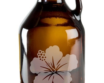 Pretty Budding Flower 64oz Beer Wine Growler