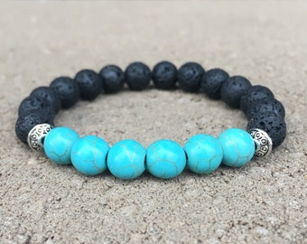 Turquoise & Lava Aromatherapy Diffuser Bracelet, Essential Oil Bracelet, Anxiety, Purification, Protection, Good Luck, Friendship, Balance