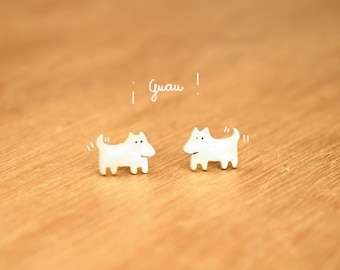 Tiny Dog- Stud Puppy Earrings- Sterling Silver - Dog lover gift
