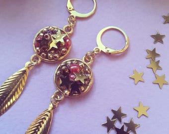 Festive earrings gold and glitter