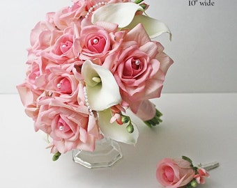 Pink, blush, white/offwhite/ivory, roses, calla lilies, bouquet, Real Touch flowers, silk wedding flowers, Bride, Bridal