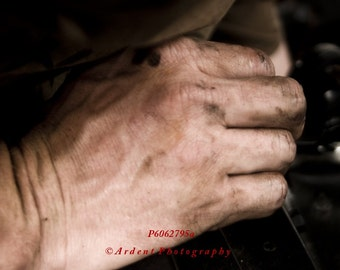 Dirty Hand Working on Car Engine laborer man cave garage wall art room decor - the Working Hand - Fine Art Photograph by Sarah McTernen