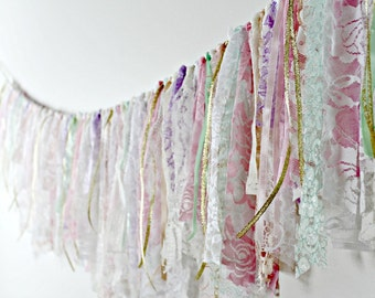 Lace Garland, Boho Chic Lace Bunting, Pastel Garland, Party Decor, Rustic Wedding Garland, Photo Prop, Shabby Lace Garland, Cottage Chic