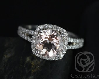 Rosados Box Pasley 8mm 14kt White Gold Morganite and Diamonds Cushion Halo Split Band Engagement Ring