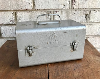 Vintage Brumberger Film Reel Storage Box | Metal Film Reel Storage Container | Movie Film Reel Canister Travel Box | Rustic Camera Decor |