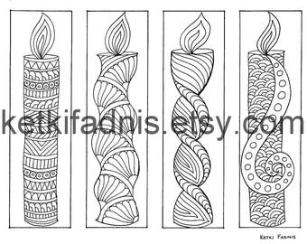 Coloring bookmarks - Candle bookmarks coloring page - Instant PDF Download - Digital download - Hand drawn - DIY - Coloring page