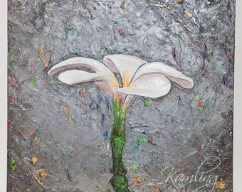 "Single Plumeria - original 30"" x 30"" textured acrylic mixed media painting"