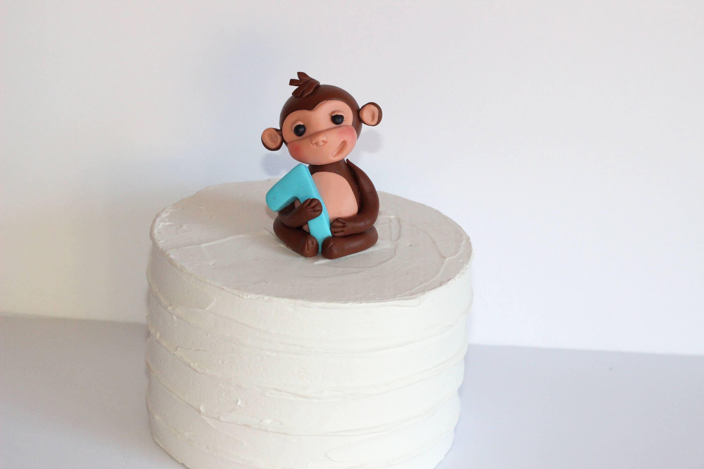 Fondant Monkey 1st Birthday Cake Decoration Baby Shower Jungle