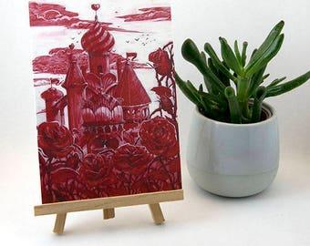 Postcard original Castle Marylou Deserson Illustration _ _ Red A6 card