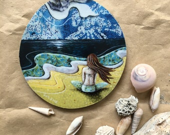 Beach decor, girlfriend gift, she looked past a sea of her own thoughts, one of a kind, Mounted Print, round wood slice