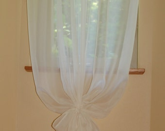 50'' Wide and Custom Length Simple Sheer Voile Window Curtain Panel in Ivory/Cream or White  with Matching Tie Back