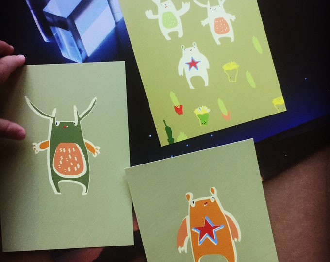 Set of 3 postcards. Cards . Kids. Monsters . Creatures .Modern stationery