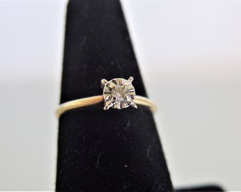Vintage Diamond Solitaire Ring Jewelry | 10K Yellow Gold Engagement Ring | Sweetheart Ring | Promise Ring | Jewelry Gift for Her