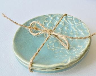 His Her Ring Dish ~ Ceramic Jewelry Dish ~ Ceramic Tea Bag Rest ~ Ceramic Tea Bag Holder ~ Pottery Tea Bag Holder ~Trinket Dish Ring Holder